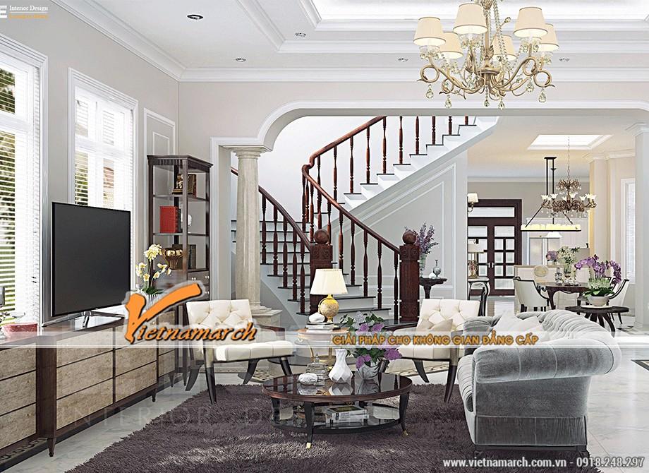 Mẫu trần thạch cao cổ điển phòng khách đẹp và sang trọng tại chung cư D'.Palais de Louis 09