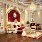 Phòng ngủ quyến rũ với trần thạch cao cổ điển tại biệt thự Ecopark
