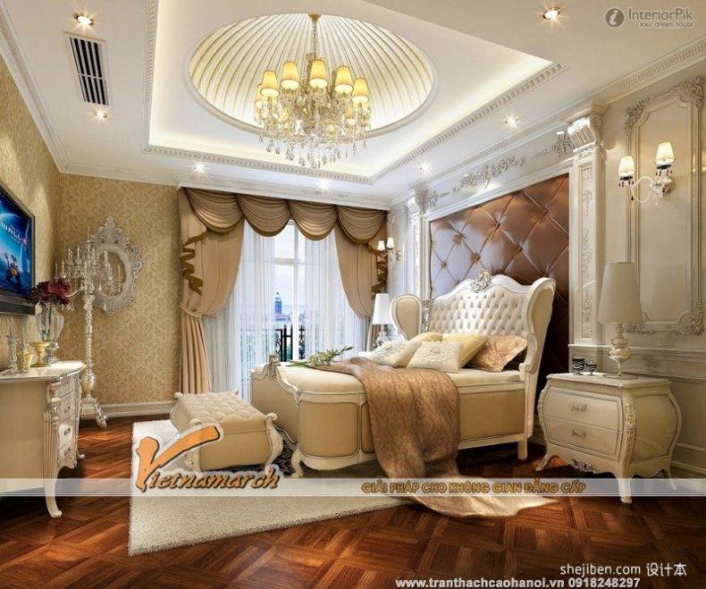 Mẫu trần thạch cao phòng ngủ đẹp và quyến rũ - biệt thự Ecopark 03