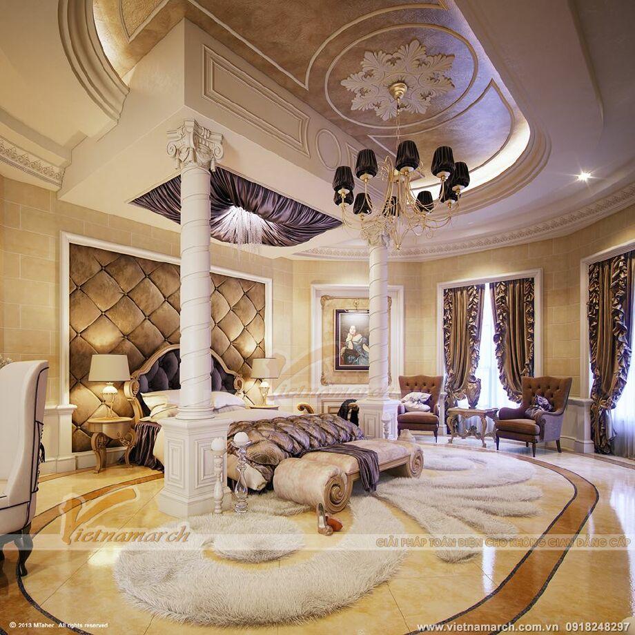 Thiết kế nội thất phòng ngủ master biệt thư nhà vườn tại Phú Yên