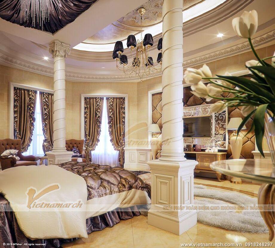 Thiết kế nội thất phòng ngủ biệt thự nhà vườn cổ điển tại Phú Yên
