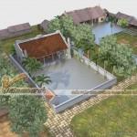 Thiết kế nhà thờ họ kết hợp nhà ở ba gian – hai chái cho nhà bác Luyến tại Bắc Ninh