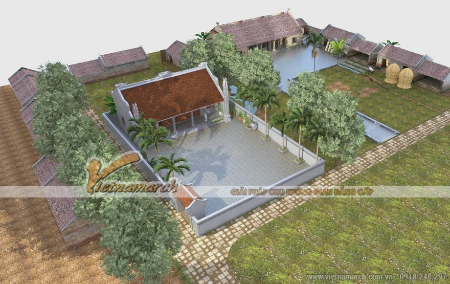 Thiết kế nhà thờ họ kết hợp nhà ở ba gian - hai chái cho nhà bác Luyến tại Bắc Ninh