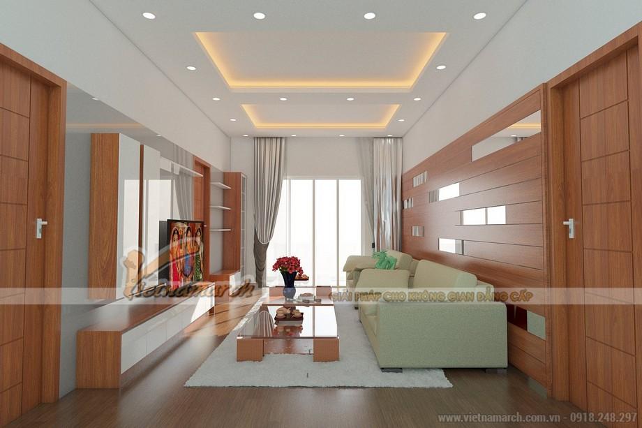 Phòng khách tầng 2 được thiết kế theo lối tân cổ điên hiện đại với chủ yếu là gỗ