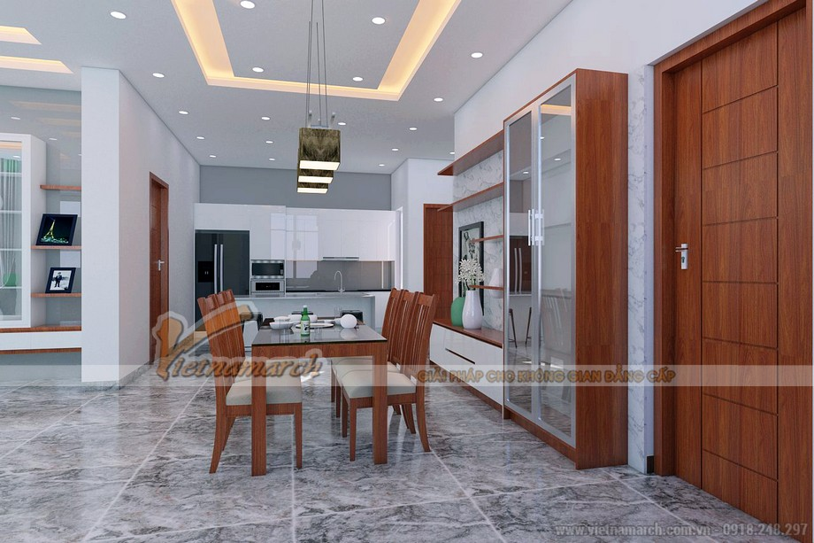 Thiết kế nội thất bàn ăn giản đơn nhưng không kém phần công nghiệp sang trọng