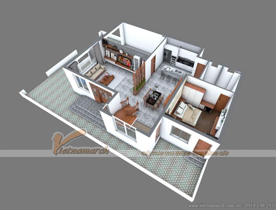 Tổng thể mặt bằng của tầng 1 của căn biệt thự