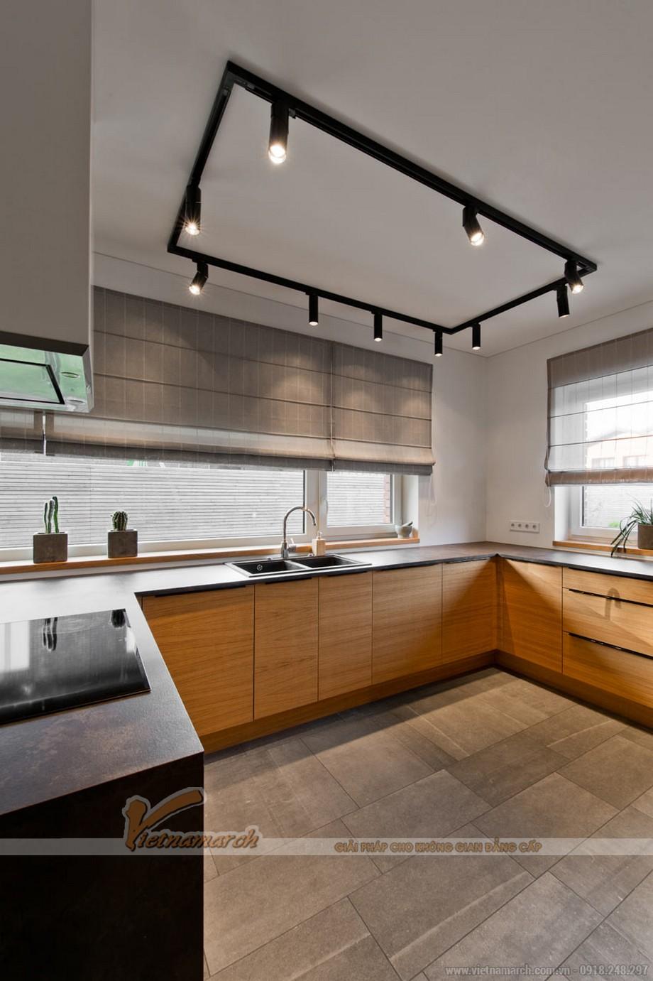 Thiết kế nội thất phòng bếp trang nhã,sang trọng toát lên vẻ hiện đại với công nghệ cao