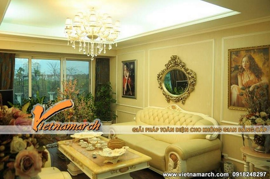 Chiêm ngưỡng mẫu trần thạch cao cổ điển cho phòng khách trong căn hộ Times City – Park Hill-03