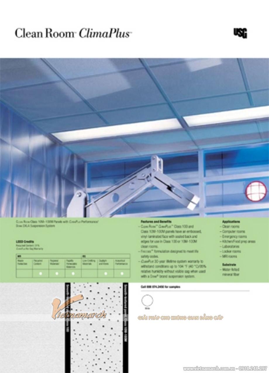 Tấm trần sợi khoáng USG - Clean Room ClimaPus - 01