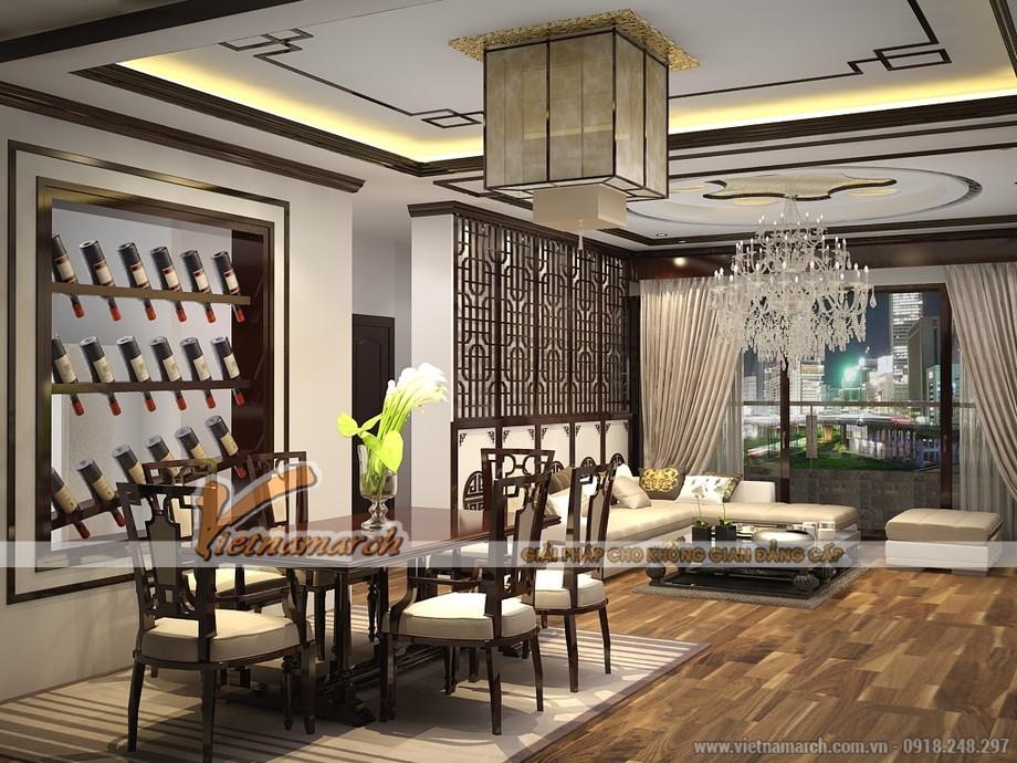 Mẫu trần thạch cao tân cổ điển cho không gian phòng khách tại chung cư D'.Le Roi Soleil Quảng An - 05