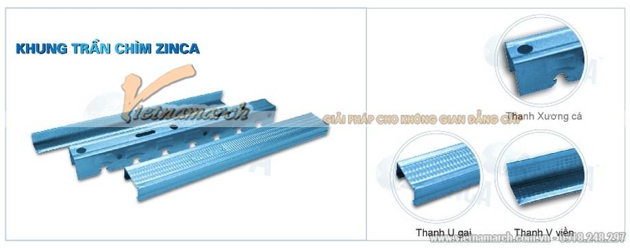 Khung trần chìm Zinca - TBC (Tiết kiệm) - 01