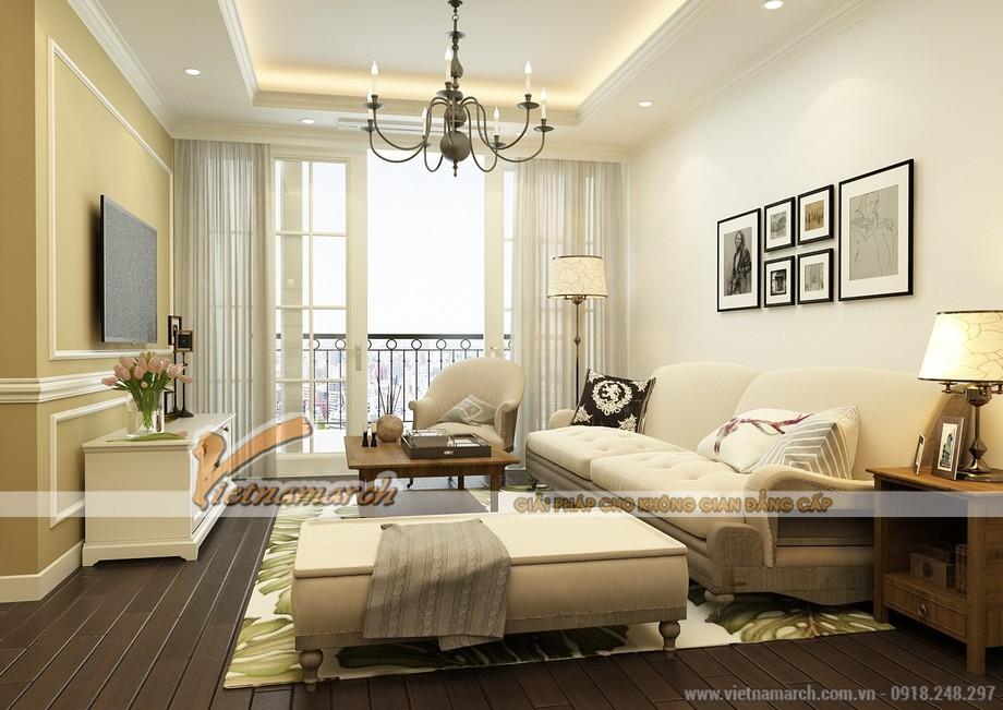 Mẫu trần thạch cao tân cổ điển cho không gian phòng khách tại chung cư D'.Le Roi Soleil Quảng An - 04