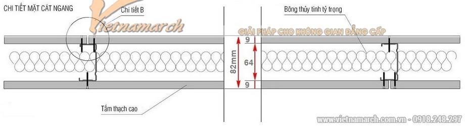 chiều dày vách thạch cao khi sử dụng khung U 63-64