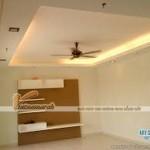 Không gian phòng khách nguy nga với mẫu trần thạch cao độc đáo cho căn hộ chung cư Goldmark City