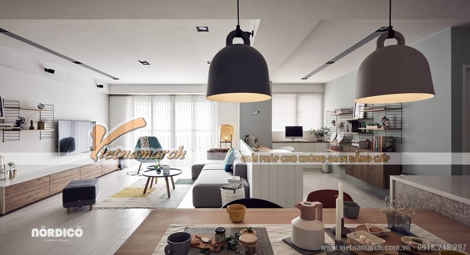 Mẫu trần thạch cao phòng khách và phòng bếp cho căn hộ chung cư D'.Le Roi Soleil Quảng An nhà anh Quỳnh - 04