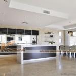 Mẫu trần thạch cao hiện đại phòng khách và phòng bếp căn hộ chung cư D'. Le Roi Soleil Quảng An