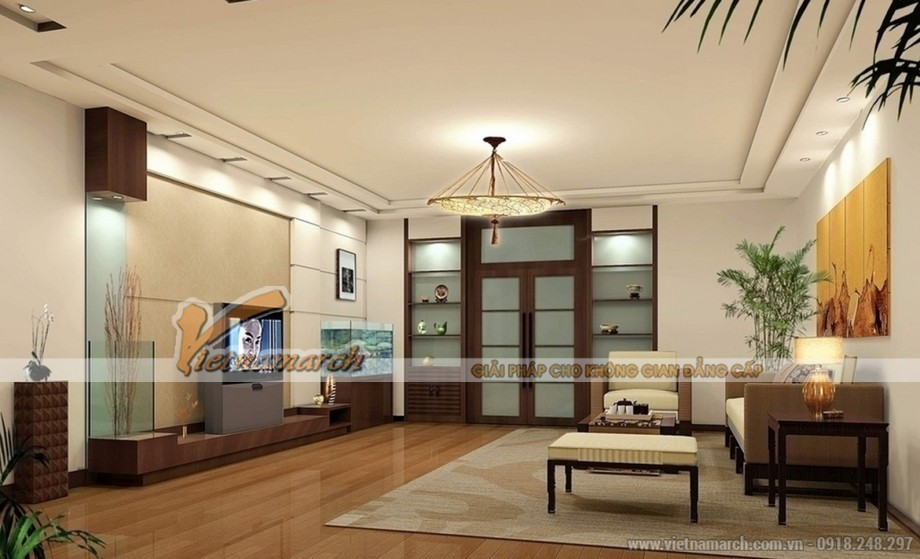 mẫu trần thạch cao cho phòng khách căn hộ chung cư D'.Le Roi Soleil Quảng An - 01