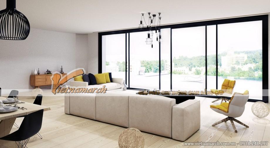 Chiêm ngưỡng mẫu trần thạch cao phẳng cho phòng khách tại chung cư Times City - 04
