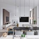 Thiết kế mẫu trần thạch cao phòng khách và phòng bếp cho căn hộ chung cư D'.Le Roi Soleil Quảng An nhà anh Quỳnh