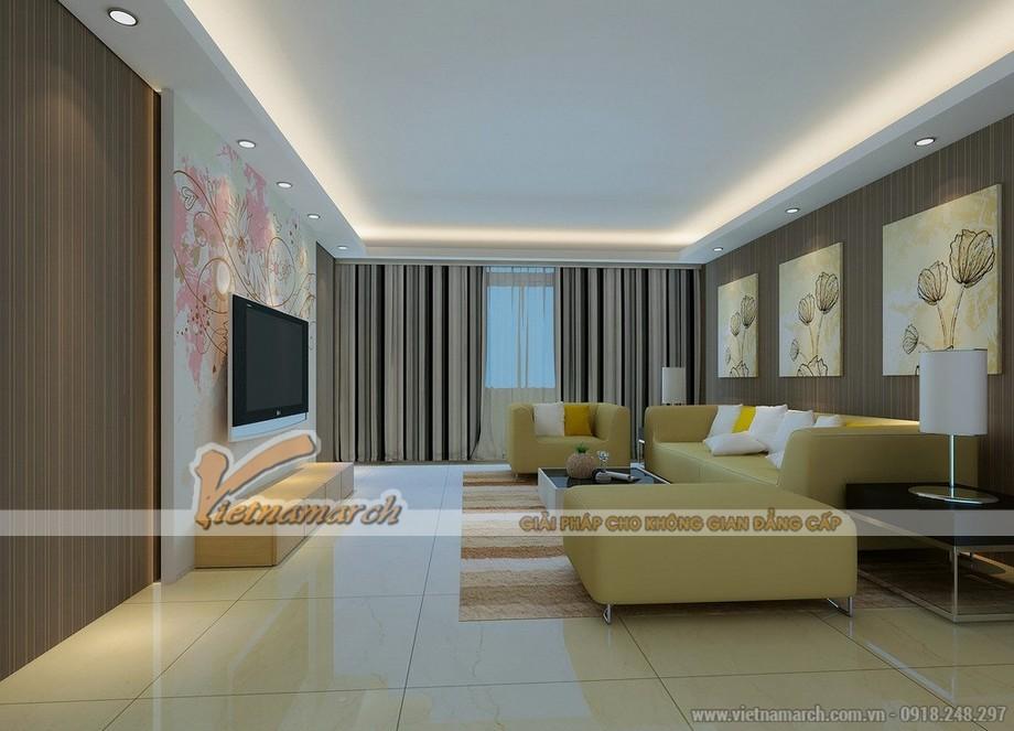 Không gian phòng khách cực xinh với mẫu trần thạch cao hiện đại - 02