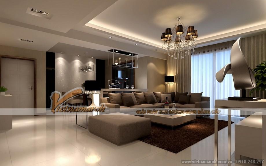 Mẫu trần thạch cao tân cổ điển cho không gian phòng khách tại chung cư D'.Le Roi Soleil Quảng An - 06
