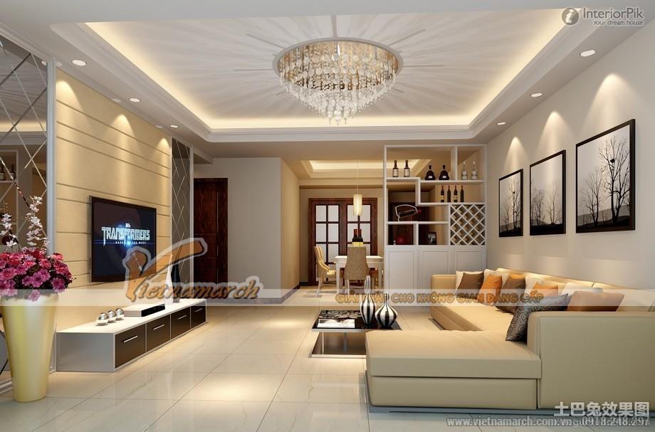 Mẫu trần thạch cao tân cổ điển cho không gian phòng khách tại chung cư D'.Le Roi Soleil Quảng An - 07