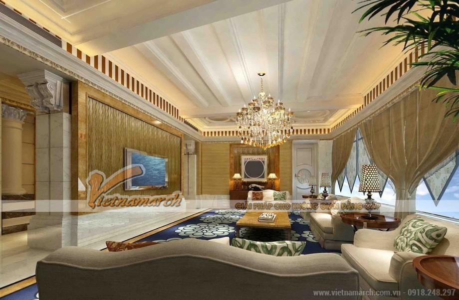 Mẫu trần thạch cao cổ điển phòng khách tại biệt thự Ecopark đẹp sang trọng 03