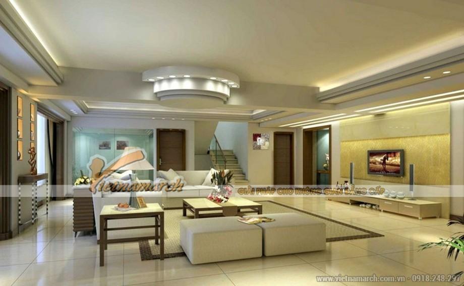 Thiết kế mẫu trần thạch cao hiện đại cho căn biệt thự nhà anh Trung - Hà Nam - 02