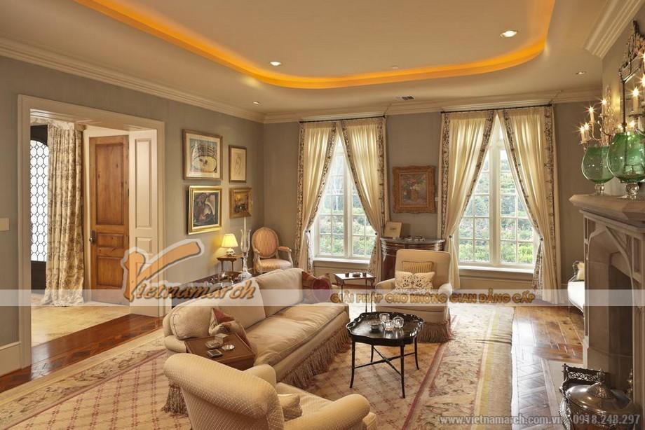 Mẫu trần thạch cao tân cổ điển cho không gian phòng khách tại chung cư D'.Le Roi Soleil Quảng An - 09