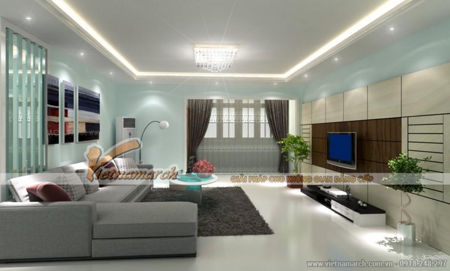 Trang hoàng không gian phòng khách với mẫu trần thạch cao độc đáo cho căn hộ chung cư Goldmark City - 01
