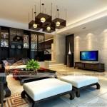 Thiết kế trần thạch cao tân cổ điển cho không gian phòng khách tại chung cư D'.Le Roi Soleil Quảng An