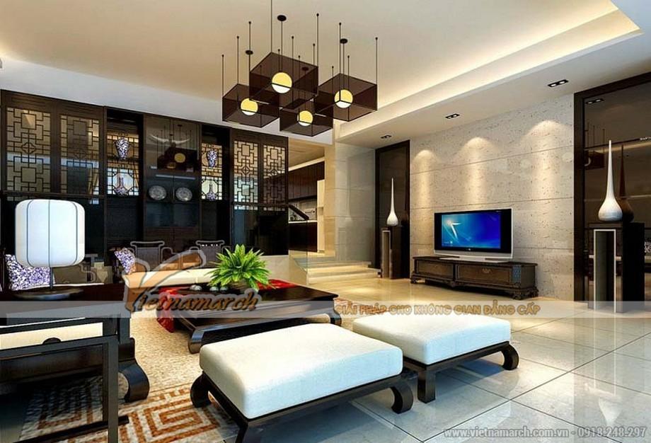 Mẫu trần thạch cao tân cổ điển cho không gian phòng khách tại chung cư D'.Le Roi Soleil Quảng An - 02