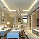 5 mẫu trần thạch cao phòng khách bắt mắt cho căn hộ chung cư Goldmark City
