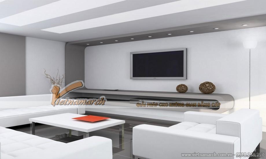 Trang hoàng không gian phòng khách với mẫu trần thạch cao độc đáo cho căn hộ chung cư Goldmark City - 02