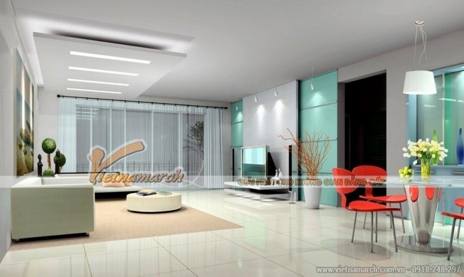 Trang hoàng không gian phòng khách với mẫu trần thạch cao độc đáo cho căn hộ chung cư Goldmark City - 03