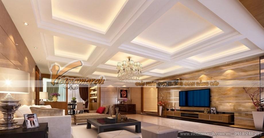 Thiết kế mẫu trần thạch cao hiện đại cho căn biệt thự nhà anh Trung - Hà Nam - 01