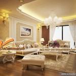 Thiết kế trần thạch cao cổ điển chống nóng cho gia đình anh Hoàng – Hà Nội