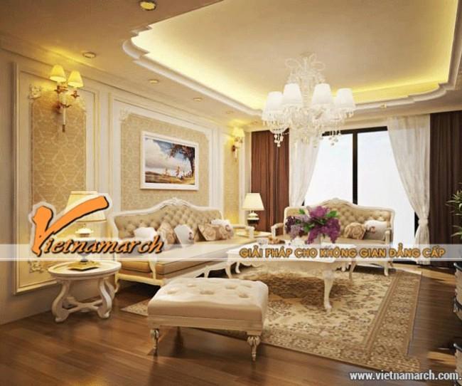 Trần thạch cao cổ điển cho phòng khách sang trọng