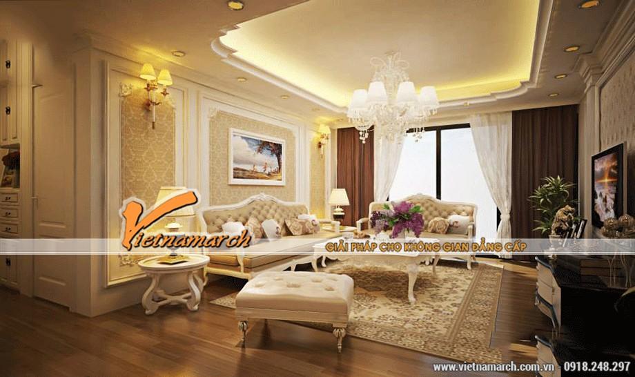 Thiết kế trần thạch cao cổ điển chống nóng cho gia đình anh Hoàng - Hà Nội