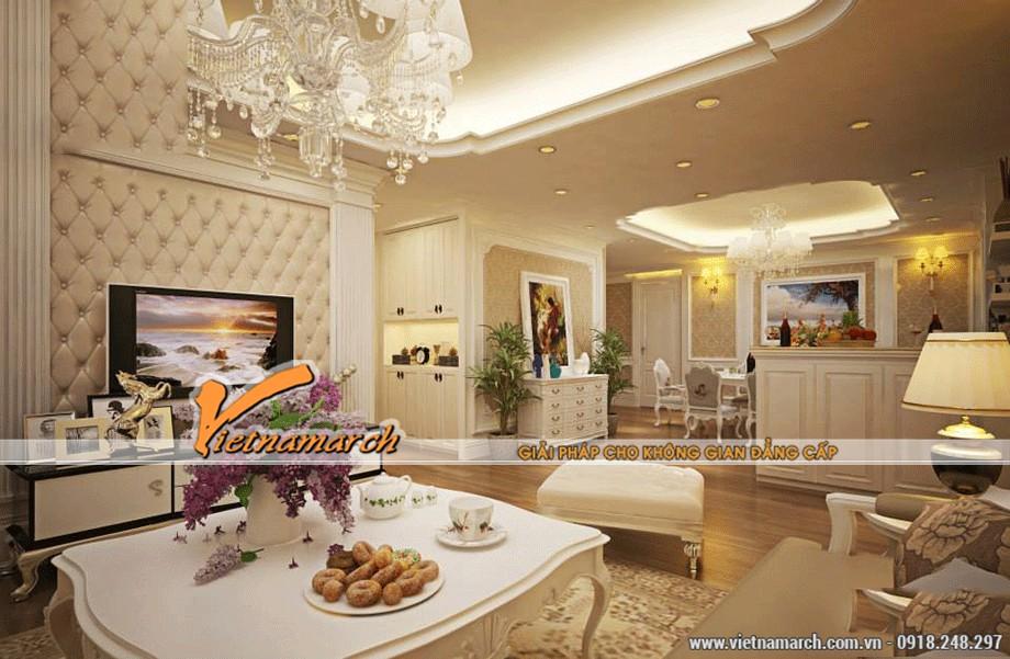 Sự kết hợp với nội thất và trần mang lại không gian thanh lịch cho phòng khách