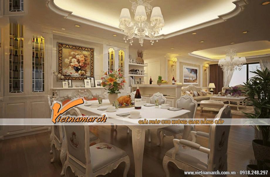 Trần thạch cao cổ điển phòng ăn