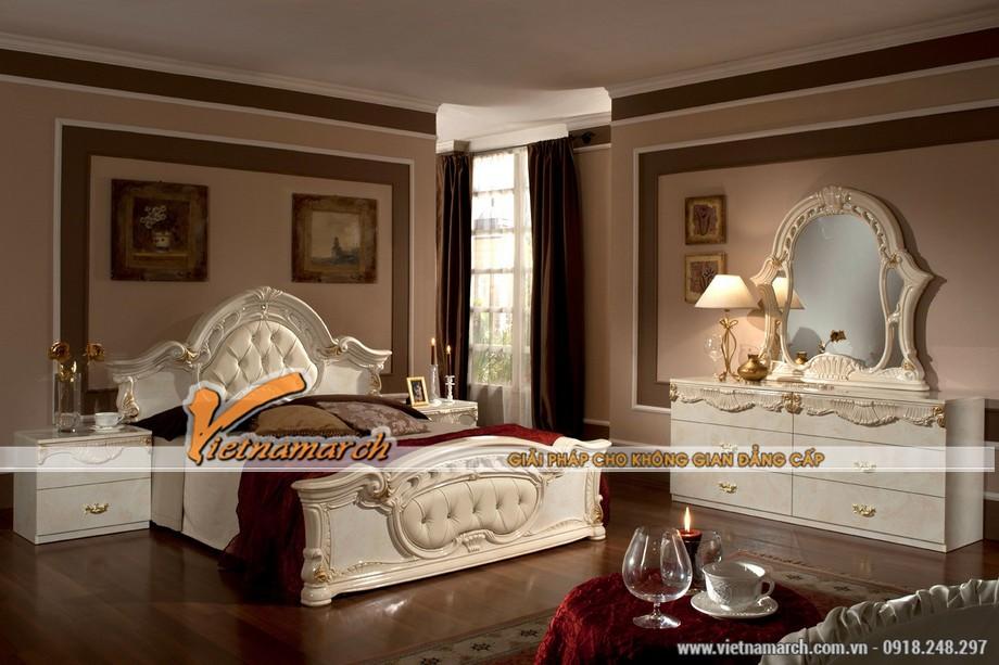Mẫu trần thạch cao cho phòng ngủ theo phong cách cổ điển.