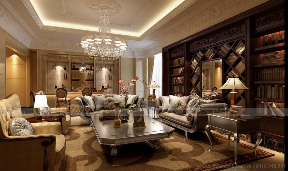 Phòng khách sang trọng với trần thạch cao cổ điển