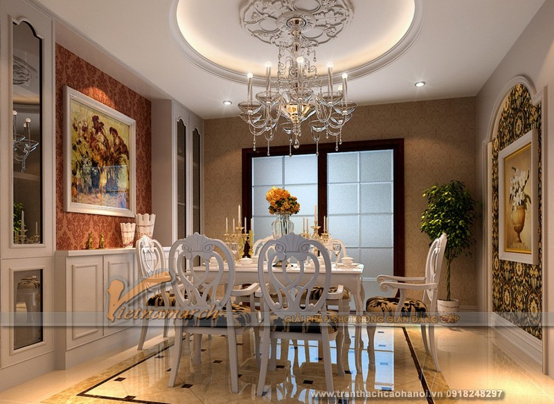 Dù ít được chú ý đến, nhưng với trần thạch cao cổ điển phòng bếp trở lên lung linh thu hút mọi ánh nhìn