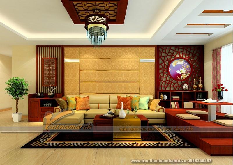 mẫu trần thạch cao cho không gian phòng khách của gia đình anh Minh - 06
