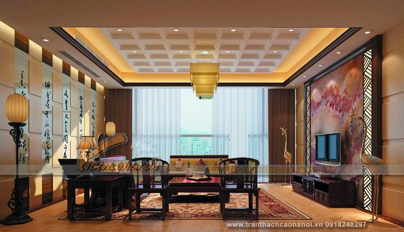 Mẫu trần thạch cao cổ điển phong cách Châu Á đẹp 02