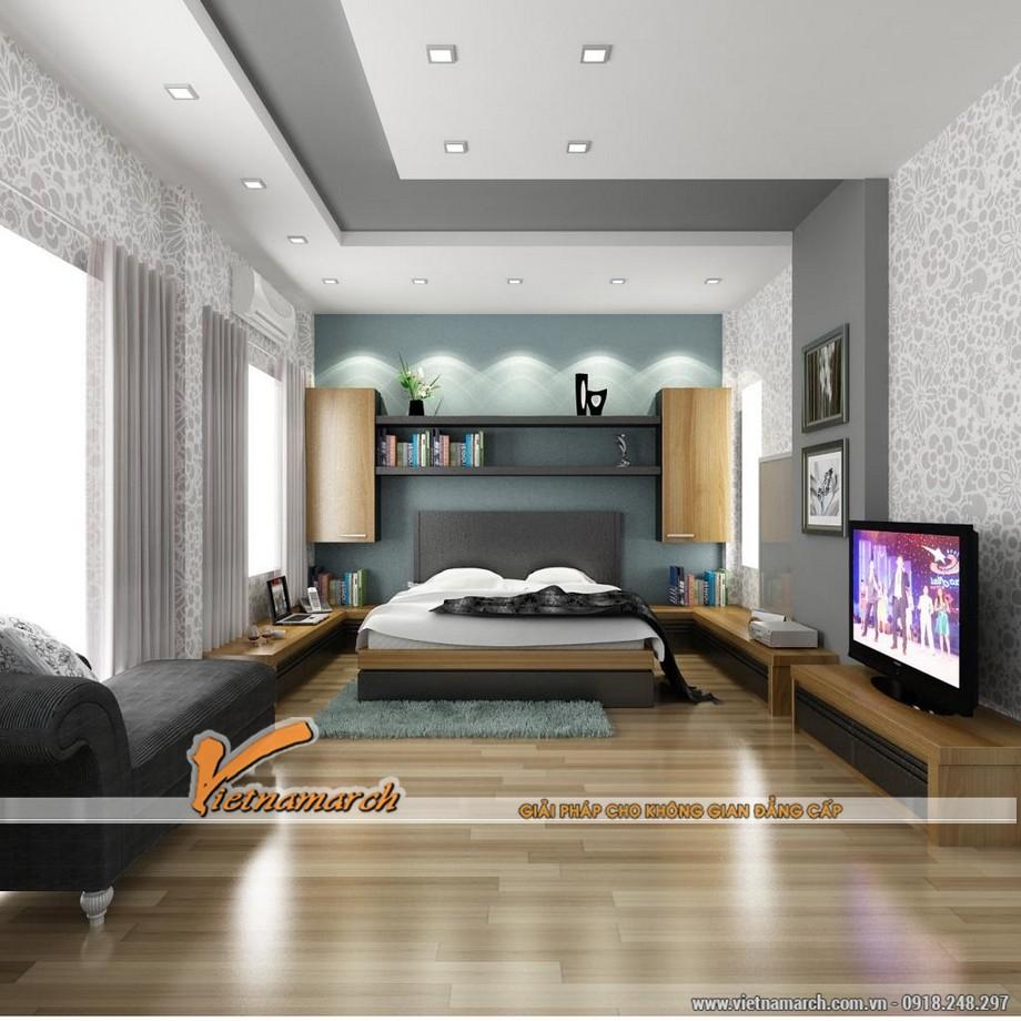 Phòng khách kiêu sa với mẫu trần thạch cao giật cấp nhà chị Bích - Hà Nội - 05