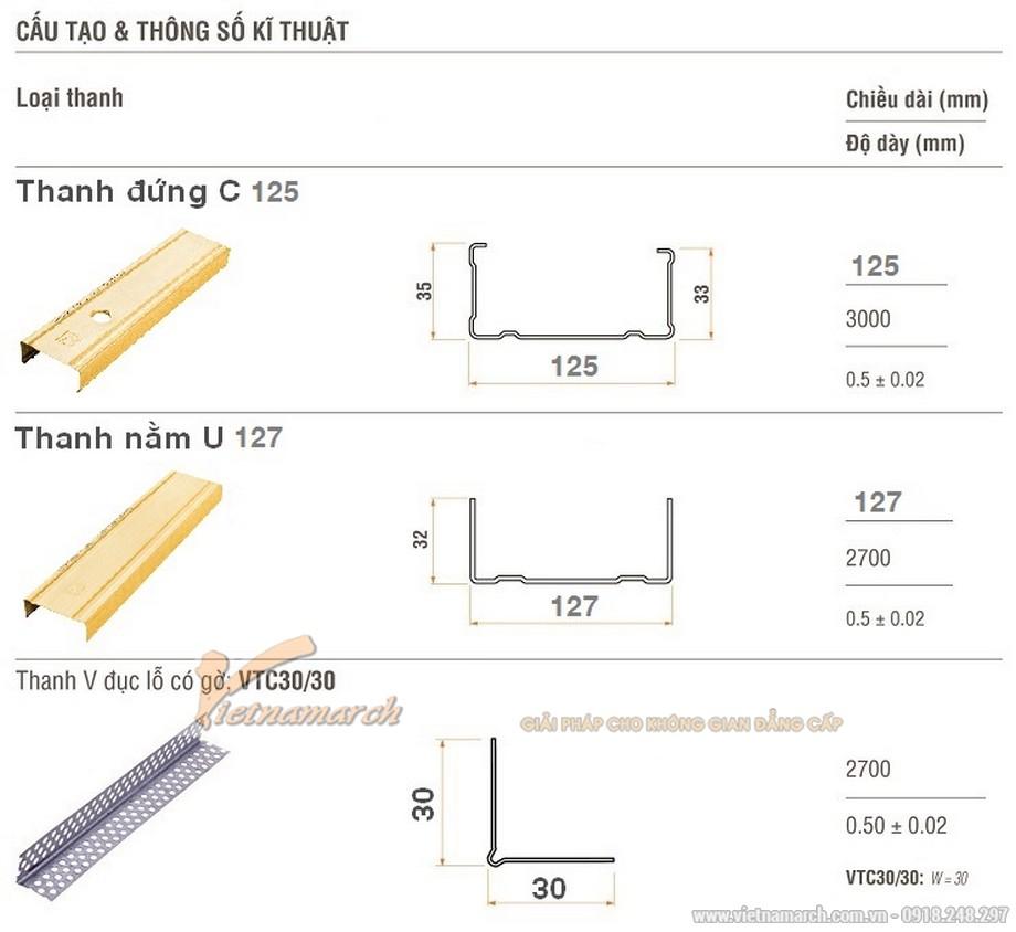 Khung vách ngăn V wall 125-127-01