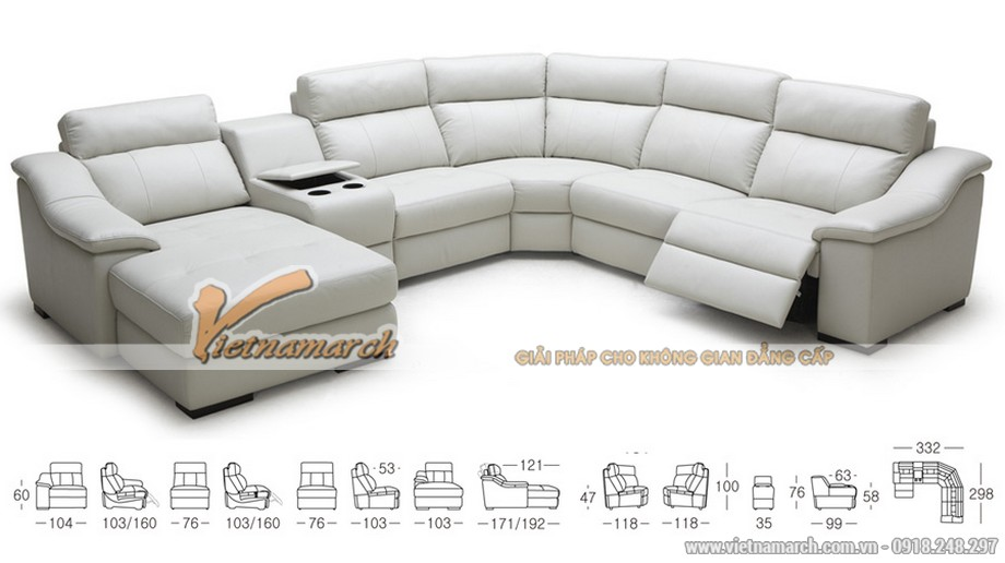 Mẫu ghế sofa góc cỡ lớn chất liệu da Jess - 01