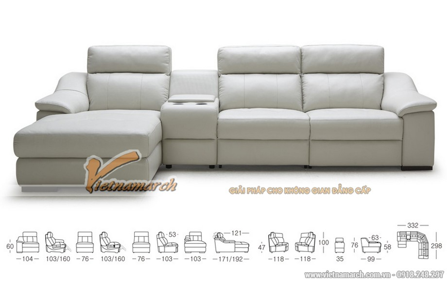 Mẫu ghế sofa góc cỡ lớn chất liệu da Jess - 03